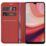 Leather Wallet Case & Card Holder Pouch for Oppo AX7 - Red